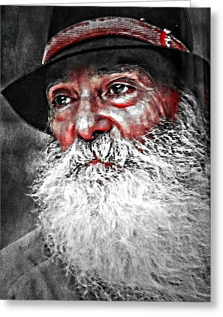 White Beard Mixed Media Greeting Cards - He Does Exist Greeting Card by M and L Creations