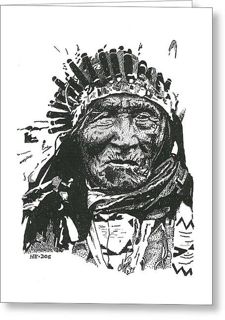 Native American Greeting Cards - He Dog Greeting Card by Clayton Cannaday