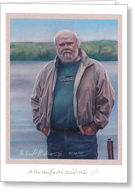 Self Portrait Pastels Greeting Cards - He Drew Himself at 68 Greeting Card by Michael  Weber