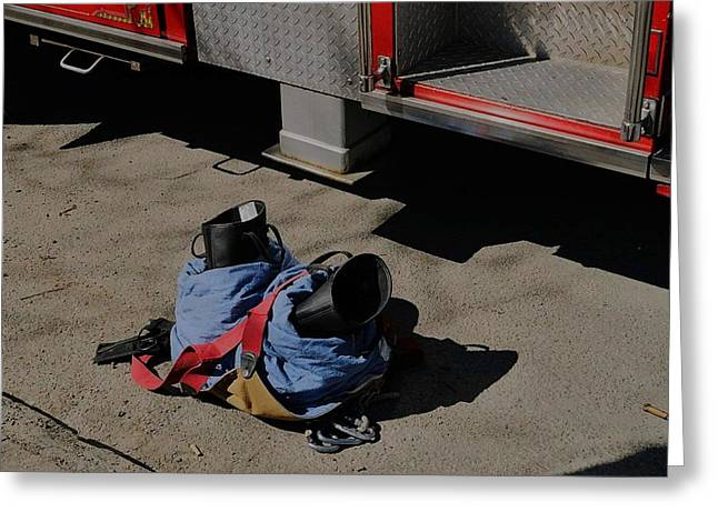 Fireman Boots Greeting Cards - He forgot something Greeting Card by June  K Doolittle