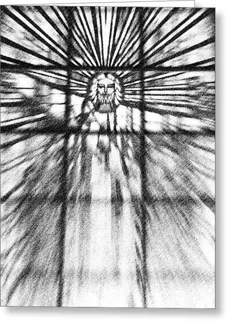 Patrick Greeting Cards - He has Risen in black and white Greeting Card by Patrick