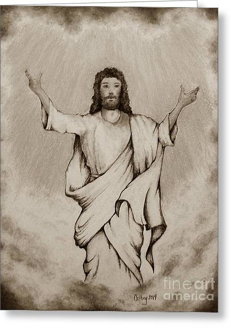 Bible Pastels Greeting Cards - He Is Risen Greeting Card by Catherine Howley