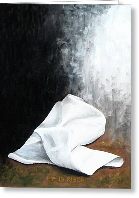White Cloth Greeting Cards - He is Risen Greeting Card by Kume Bryant