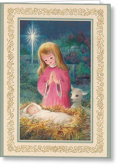 Christ Child Greeting Cards - He Lay In A Manger Gouache Greeting Card by Stanley Cooke