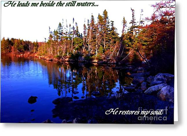 Cup Overflows Greeting Cards - He Leads me Beside the Still Waters  Greeting Card by Barbara Griffin