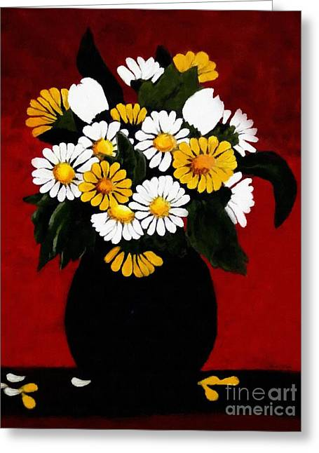 Vase Of Flowers Greeting Cards - He Loves Me... Greeting Card by Barbara Griffin