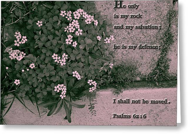 King James Version Greeting Cards - He only is my rock Greeting Card by Nina Fosdick