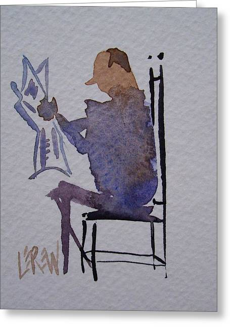 Ladder Back Chairs Drawings Greeting Cards - He Read It In The Paper Greeting Card by Larry Lerew