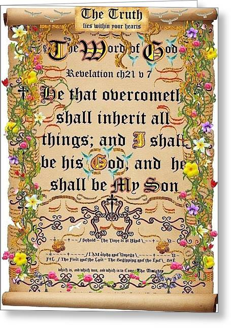 Framed Calligraphy Print Greeting Cards - He that Overcometh Greeting Card by Stephen Kovacs