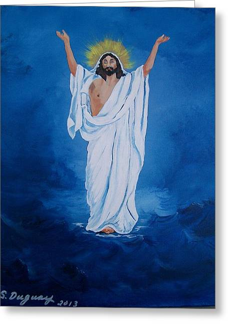 Christ Walking On Water Greeting Cards - He Walked on Water Greeting Card by Sharon Duguay