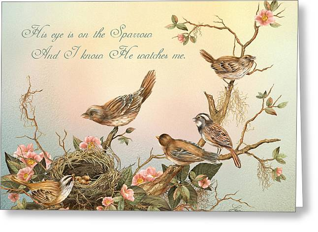 Sparrow Mixed Media Greeting Cards - He Watches Me Greeting Card by Beverly Levi-Parker