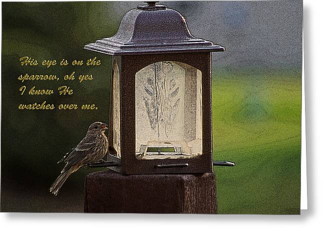 Abba Father Greeting Cards - He Watches Over Me Greeting Card by Barbara Dean