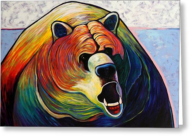 Growling Paintings Greeting Cards - He Who Greets with Fire Greeting Card by Joe  Triano