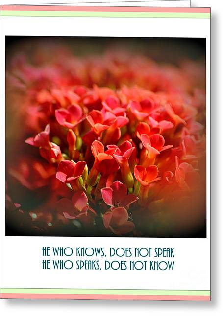 Close Focus Floral Greeting Cards - He Who Knows Does Not Speak Greeting Card by Susanne Van Hulst