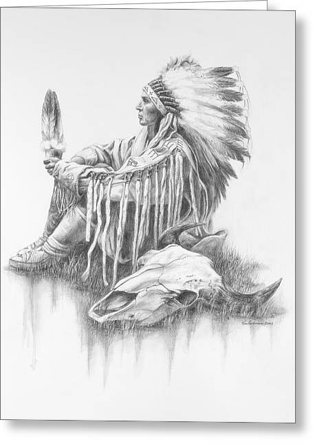 Tatanka Greeting Cards - He Who Seeks A Vision Greeting Card by Kim Lockman