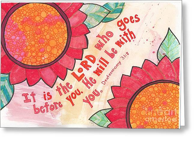 Bible Mixed Media Greeting Cards - He will be with you. Greeting Card by Dana Sorrell