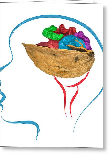 Copy Machine Digital Art Greeting Cards - Head And Brain Abstract Greeting Card by Ioan Panaite