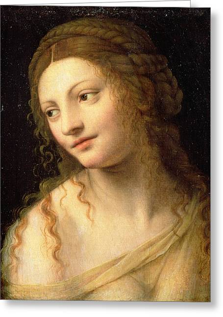 Ringlets Greeting Cards - Head And Shoulders Of A Young Woman Greeting Card by Bernardino Luini