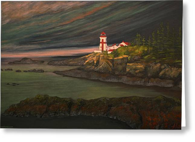 East Quoddy Lighthouse Greeting Cards - Head Harbour East Quoddy Light Greeting Card by Alison Barrett Kent