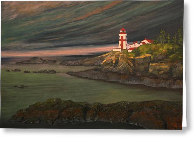 East Quoddy Lighthouse Greeting Cards - Head Harbour East Quoddy Light close crop Greeting Card by Alison Barrett Kent