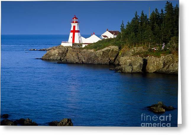 Head Harbour Lighthouse Greeting Cards - Head Harbour Lighthouse at sunset Greeting Card by Larry Knupp