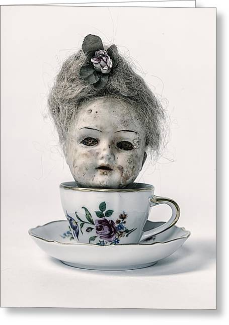 Blind Eyes Greeting Cards - Head In Cup Greeting Card by Joana Kruse