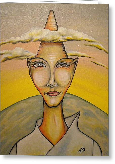 Annie Lennox Greeting Cards - Head in the Clouds Greeting Card by Janine Cooper Ayres