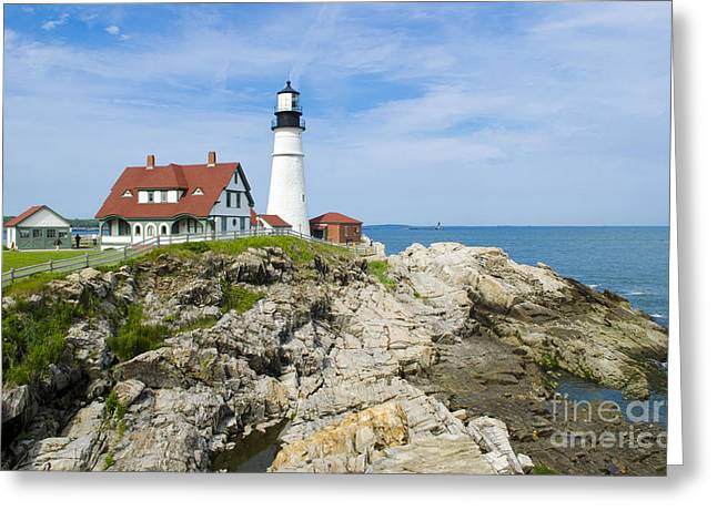 Beautiful Scenery Greeting Cards - Head Light Lighthouse, Portland, Me Greeting Card by Bill Bachmann