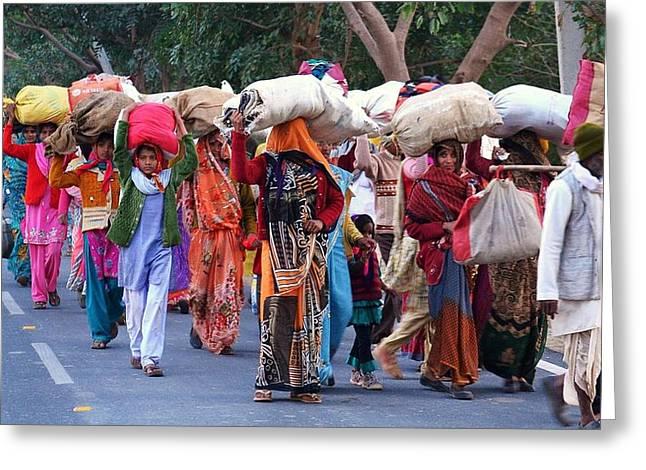 India Greeting Cards - Head Loads at the Kumbhla Mela - Allahabad India Greeting Card by Kim Bemis