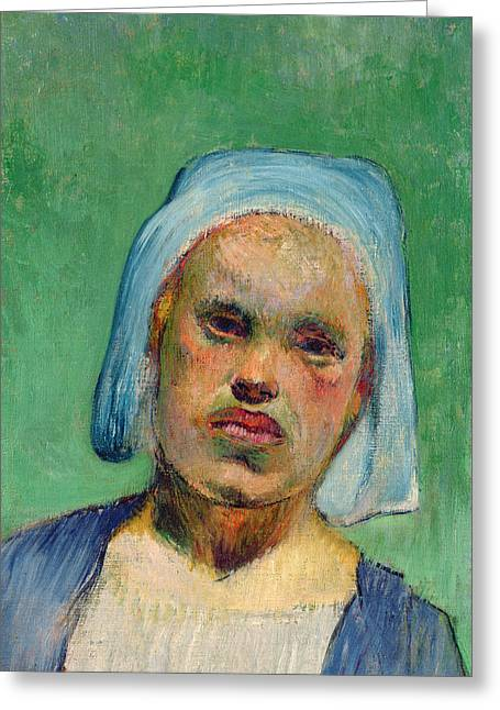 Head Greeting Cards - Head of a Breton Greeting Card by Paul Gauguin