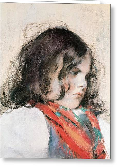 Faire Greeting Cards - Head Of A Child Pastel On Paper Greeting Card by Mary Stevenson Cassatt