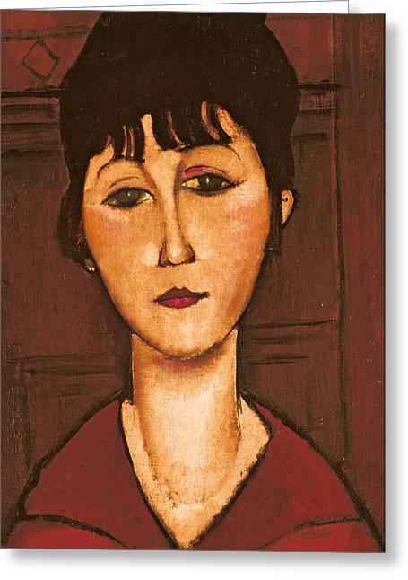 Clemente Paintings Greeting Cards - Head of a Girl Greeting Card by Amedeo Modigliani