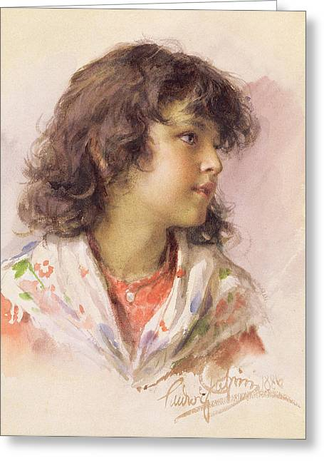 Youthful Greeting Cards - Head of a Girl Greeting Card by Ludwig Passini