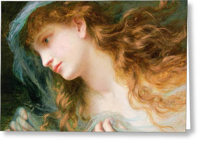 Redhead Greeting Cards - Head Of A Nymph Oil On Canvas Greeting Card by Sophie Anderson