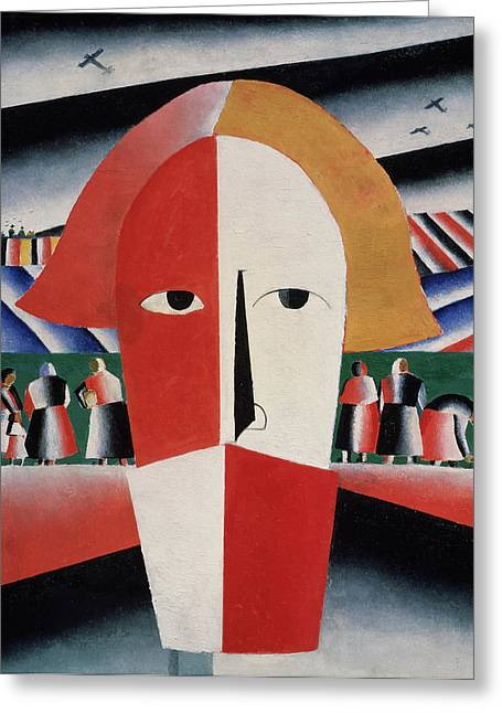 Malevich Greeting Cards - Head of a Peasant Greeting Card by Kazimir  Malevich