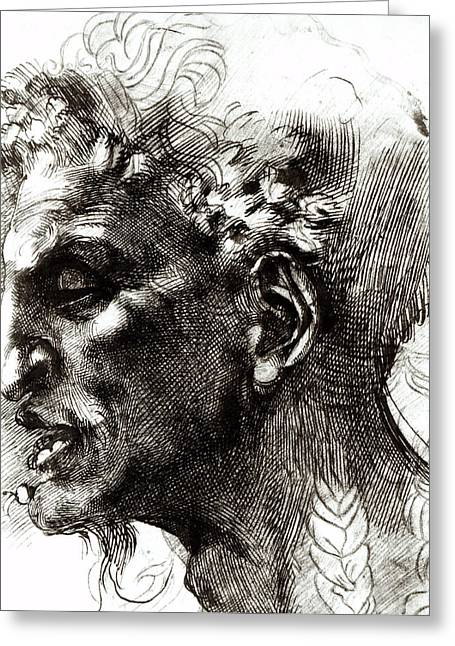Hatching Greeting Cards - Head of a Satyr  Greeting Card by Michelangelo