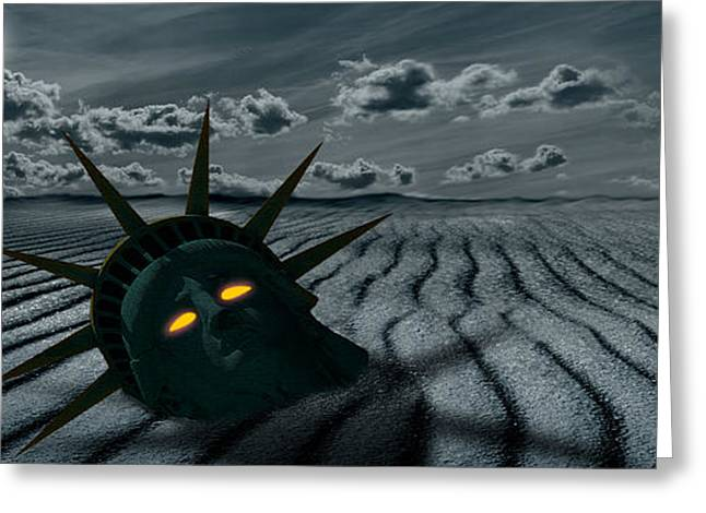 Statue Of Liberty Greeting Cards - Head Of A Statue With A Broken Bridge Greeting Card by Panoramic Images