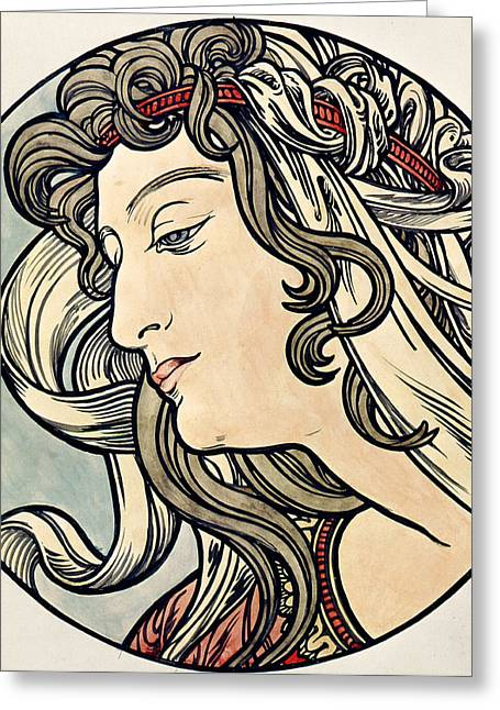 Nose Drawings Greeting Cards - Head of a Woman Greeting Card by Alphonse Marie Mucha