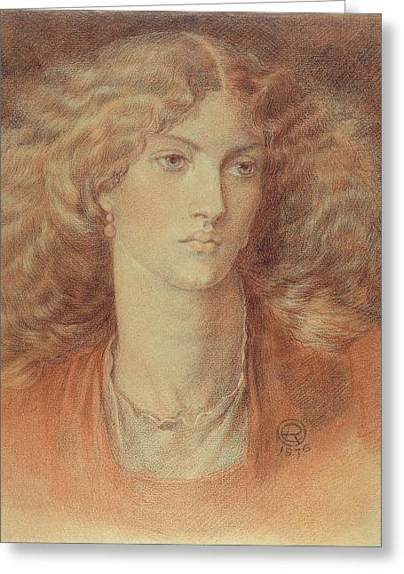 Rossetti Greeting Cards - Head of a Woman called Ruth Herbert Greeting Card by Dante Charles Gabriel Rossetti