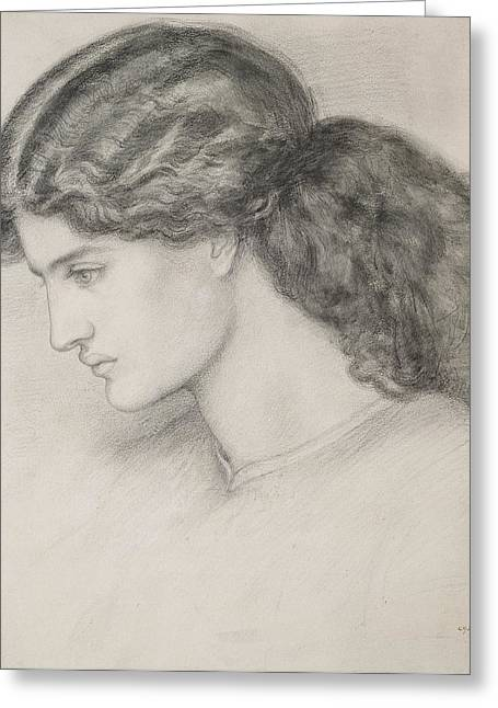 Woman Head Prints Greeting Cards - Head Of A Woman Greeting Card by Dante Gabriel Charles Rossetti