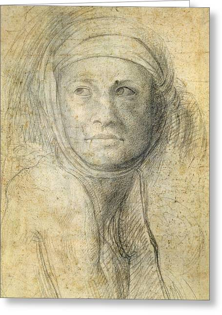 Face Of A Woman Greeting Cards - Head of a Woman Greeting Card by Michelangelo Buonarroti