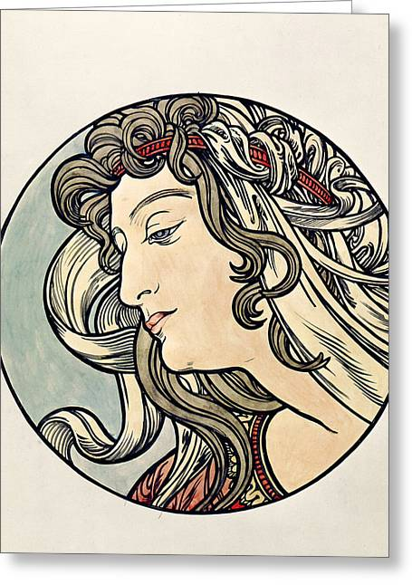 Femme Greeting Cards - Head Of A Woman Wc On Paper Greeting Card by Alphonse Marie Mucha