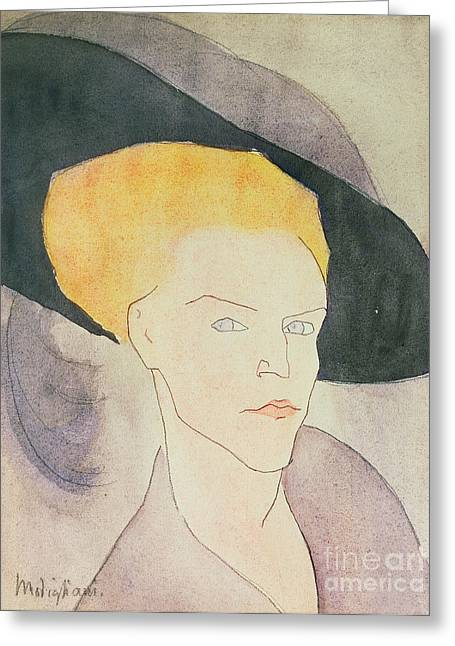 Bone Structure Greeting Cards - Head of a Woman wearing a hat Greeting Card by Amedeo Modigliani