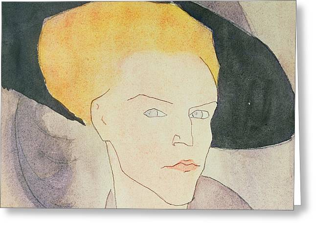 Head of a Woman wearing a hat Greeting Card by Amedeo Modigliani