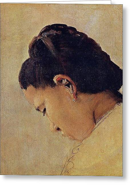 Seurat Greeting Cards - Head of a young girl Greeting Card by Georges Seurat