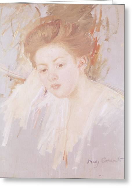 Innocence Greeting Cards - Head Of A Young Girl Pastel On Paper Greeting Card by Mary Stevenson Cassatt