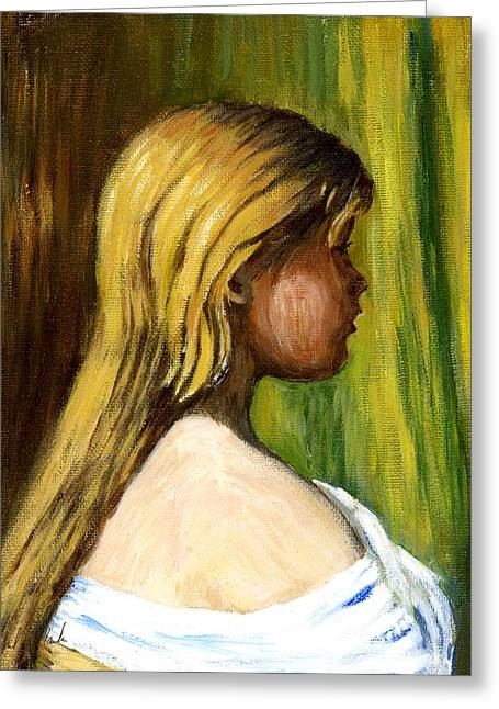 Phil Clark Greeting Cards - Head of a Young Girl2 Greeting Card by Phil Clark