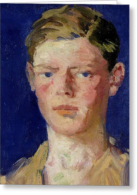 Blond Hair Greeting Cards - Head of a Young Man Greeting Card by Francis Campbell Boileau Cadell