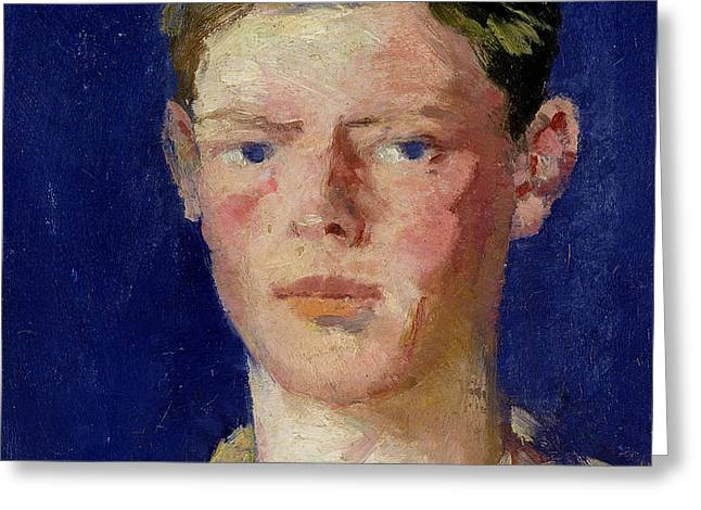 Head of a Young Man Greeting Card by Francis Campbell Boileau Cadell