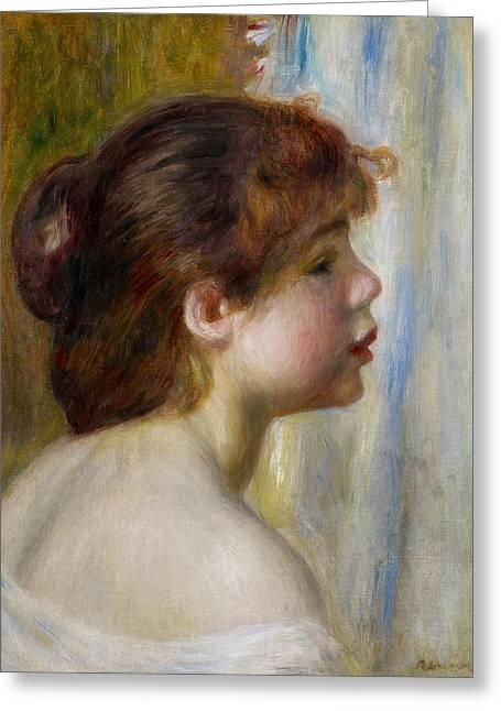 Renoir Greeting Cards - Head of a young woman Greeting Card by Pierre Auguste Renoir